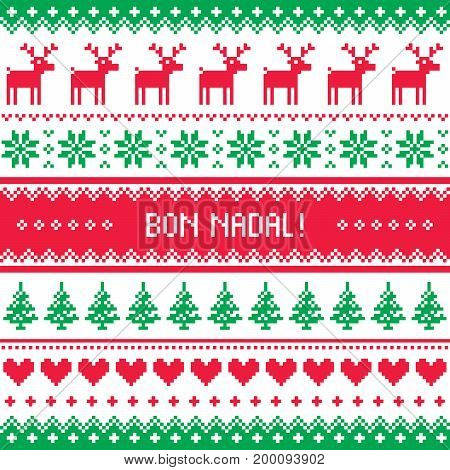 Bon Nadal greeting card - Merry Christmas in Catalan - Spanish language