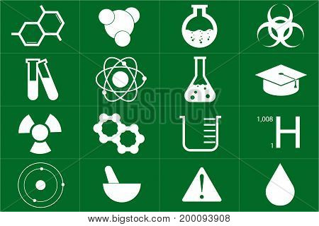 Different chemical icons set in green color