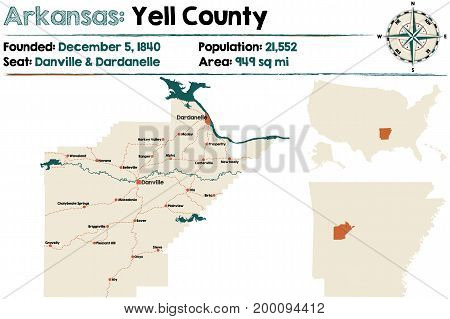 Large and detailed map of Arkansas - Yell county