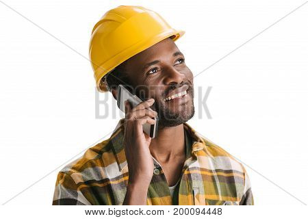Construction Worker Talking By Phone