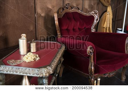 Old Red Furniture In The Room