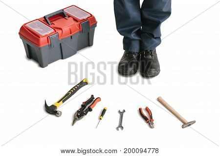 cropped shot of construction worker with tools isolated on white