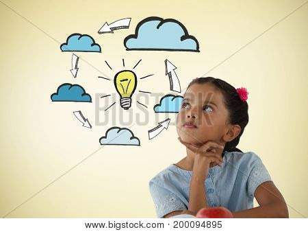 Digital composite of Girl looking up with light bulb and clouds graphics