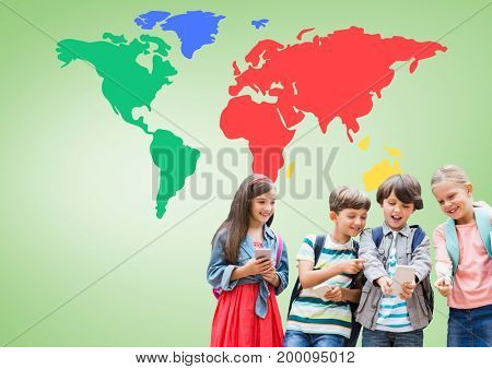 Digital composite of Kids on device in front of colorful world map