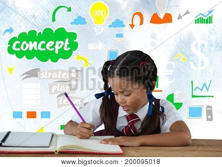 Digital composite of Schoolgirl writing at desk in front of colorful concept graphics