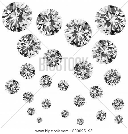 Group of large and small round diamonds isolated over white