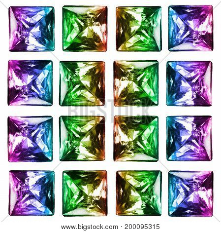 Group of colorful shiny square crystals on white background