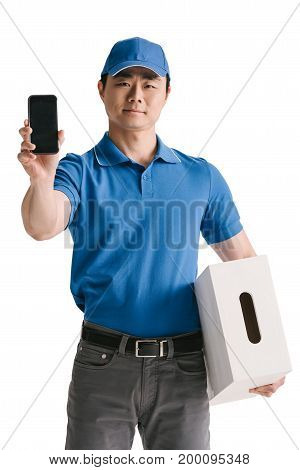 Asian Courier Showing Blank Smartphone