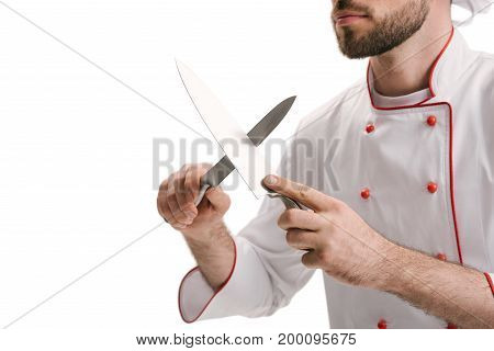 Young Chef Sharpening Knives