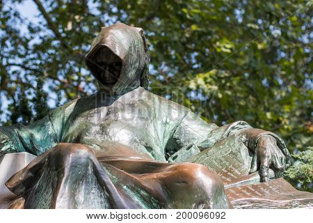 Anonymus sculpture in centre of park in Budapest, Hungary