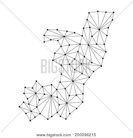 Republic of Congo map of polygonal mosaic lines network rays and dots vector illustration.