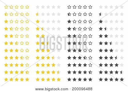 set of five rating stars vector design element