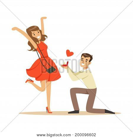 Happy man proposing marriage to beautiful woman kneeling colorful characters vector Illustration isolated on a white background
