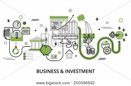 Modern flat thin line design vector illustration infographic concept of business and investment for graphic and web design