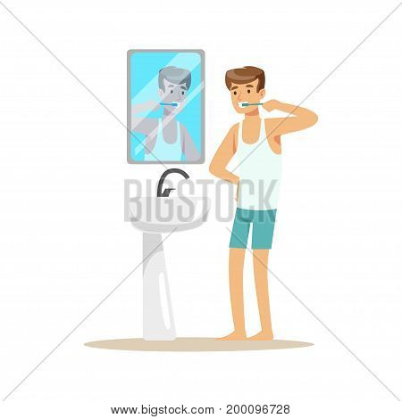 Handsome young man character brushing teeth in a bathroom after bedtime colorful vector Illustration on a white background