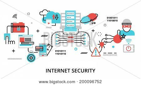 Modern flat thin line design vector illustration infographic concept of internet security network protection and secure online payments for graphic and web design