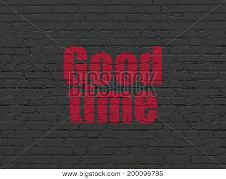Timeline concept: Painted red text Good Time on Black Brick wall background