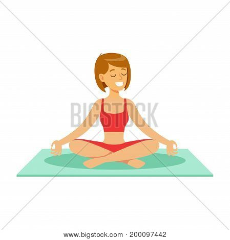 Beautiful young woman character sitting and meditating in the yoga lotus position vector Illustration on a white background