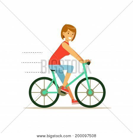 Beautiful young woman character riding bicycle vector Illustration on a white background