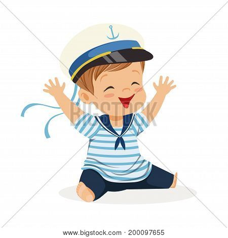 Cute smiling little boy character wearing a sailors costume sitting on the floor colorful vector Illustration on a white background