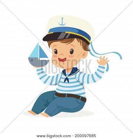 Cute smiling little boy character wearing a sailors costume sitting on the floor playing toy boat colorful vector Illustration on a white background