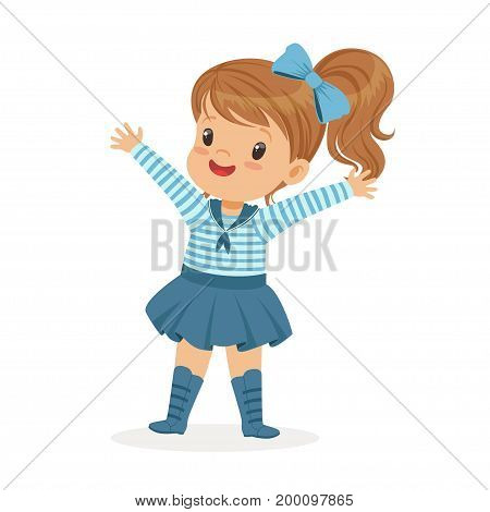 Beautiful little girl character wearing a sailors costume colorful vector Illustration on a white background