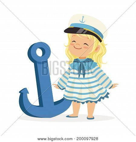 Beautiful blonde little girl character wearing a sailors costume standing next to a blue anchor colorful vector Illustration on a white background
