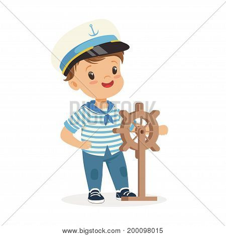 Cute smiling little boy character wearing a sailors costume holding steering wheel colorful vector Illustration on a white background