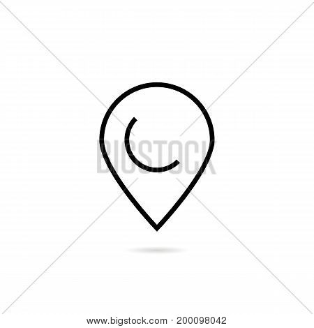 thin line pin sign with shadow. concept of locate, discovery, geography, user interface element, minimal ui. isolated on white background. linear style trend modern logotype design vector illustration