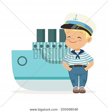 Cute smiling little boy character wearing a sailors costume standing next to a blue ship colorful vector Illustration on a white background