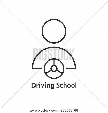 thin line driving school logo. concept of route, journey, advanced training, control auto, practice type. isolated on white background. linear style trend modern logotype design vector illustration