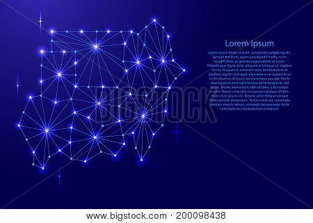 Republic of Sudan map of polygonal mosaic lines network rays and space stars of vector illustration.