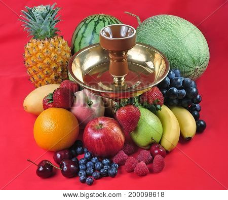 Natural organic tropical fruits mix for hookah still life