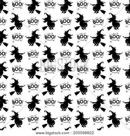 Abstract Seamless Pattern For Girls Or Boys. Creative Vector Background With Cat, Whitch, Halloween.