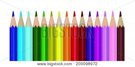 Collection of coloured pencils on the white background.