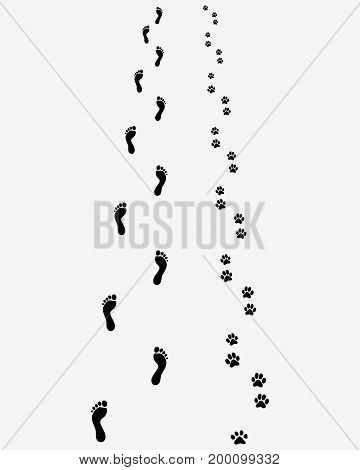 Track of human feet and dog paws on the gray background