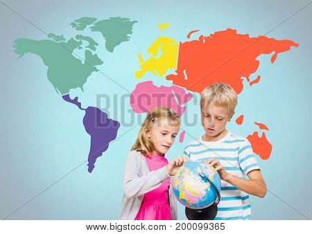 Digital composite of Kids turning world globe in front of colorful world map