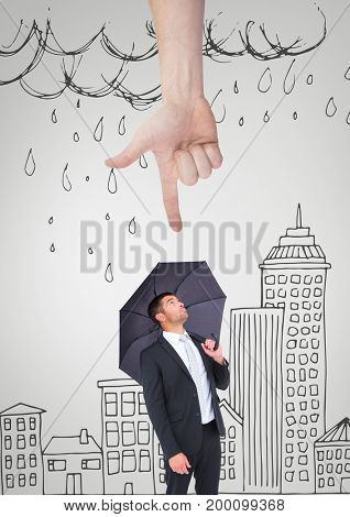 Digital composite of Hand pointing at business man with an umbrella against white background with city and rain illustrat