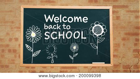 Digital composite of Welcome back to school text and flowers  on blackboard