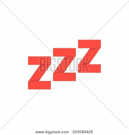 red paper made snoring sign. concept of goodnight, token, expression, message, standby, drowsiness, nap. isolated on white background. flat style trend modern logotype design vector illustration