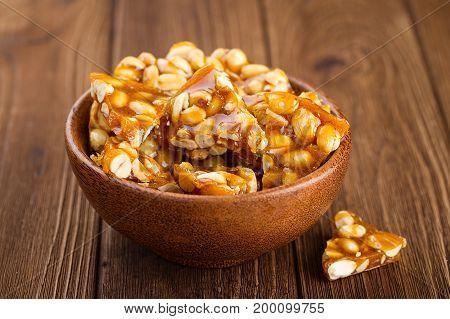 Bowl Of Homemade Kozinaki Made From Peanuts