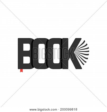 black book logo with bookmark. concept of booklet, bookshelf, ebook, reader, classbook, e-book, scrapbook, novel. isolated on white background. flat style trend modern design vector illustration