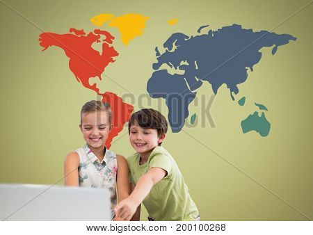 Digital composite of Kids on laptop in front of colorful world map