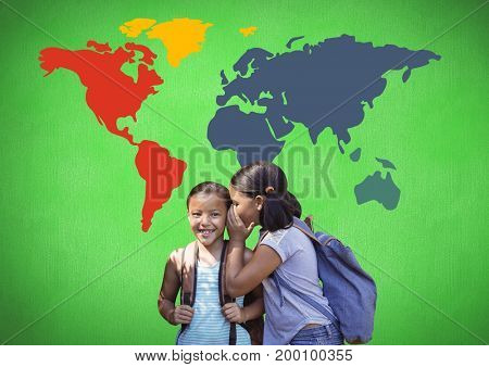 Digital composite of Schoolgirls whispering in front of colorful world map