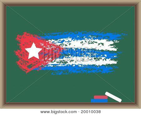 Flag Of Cuba On A Blackboard