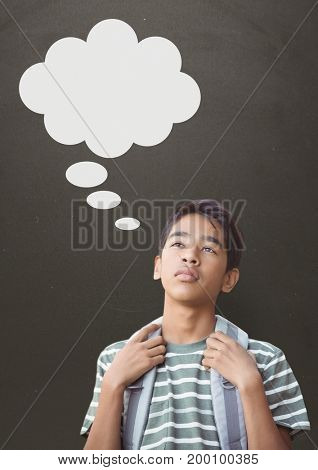 Digital composite of Student boy with speech bubble looking up against grey background
