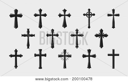 Cross logo. Religion, crucifixion, church medieval coat of arms icon