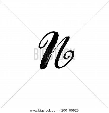 Letter N. Handwritten by dry brush. Rough strokes font. Vector illustration. Grunge style elegant alphabet.