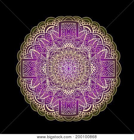 Ethnic pattern. Authentic mandala purple print on black background. Vector illustration
