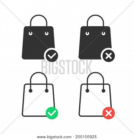 check and cancel purchase with shopping bags. concept of consumerism, discount, offer, gift, interface consumer. isolated on white background. linear style trend modern logo design vector illustration